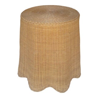 Vintage Draped Wave Wicker Side Table