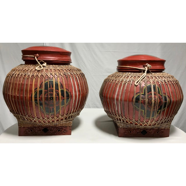 Asian Early 20th Century Vintage Asian Paper Mâché Coated Rattan Storage Containers- A Pair For Sale - Image 3 of 11
