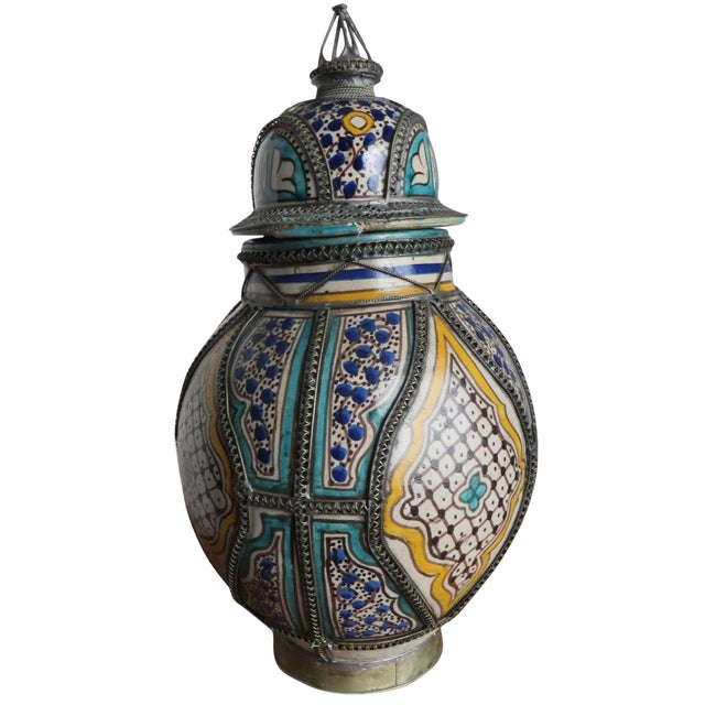 Antique Moroccan Jar with Filigree For Sale