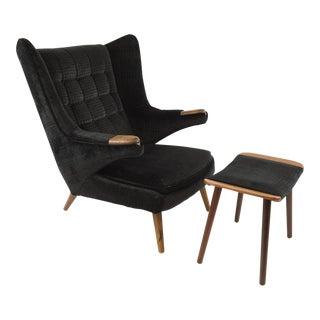 Mid-Century Modern Hans Wegner Design Papa Bear Chair & Ottoman - 2 Pieces