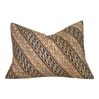 Indonesian Batik Diagonal Striped Pillow Cover For Sale