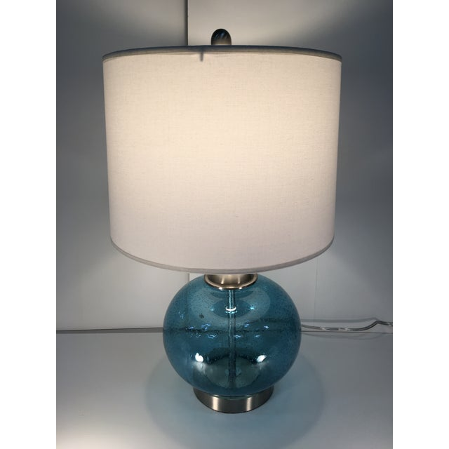 Round Blue Round Glass Lamp - Image 2 of 6