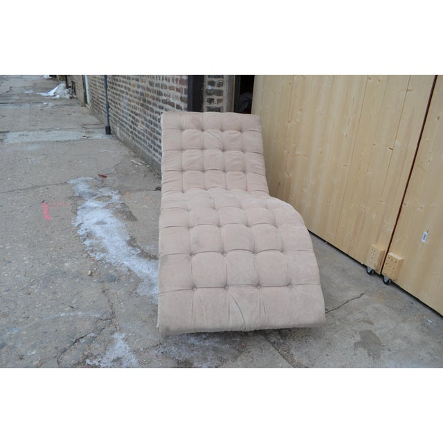 Contemporary Ivory Tufted Chaise Lounge Chair Highly recomend to reupholster with us. Contact us for pricing and fabrics...