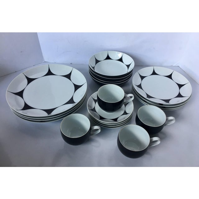 """Mid-Century Modern 20 piece """"Thistle"""" pattern dinner service by Ben Seibel for Mikasa. Service for four includes four..."""