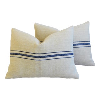 "French Woven Sky-Blue Striped Grain Sack Feather/Down Pillows 24"" X 18"" - Pair For Sale"