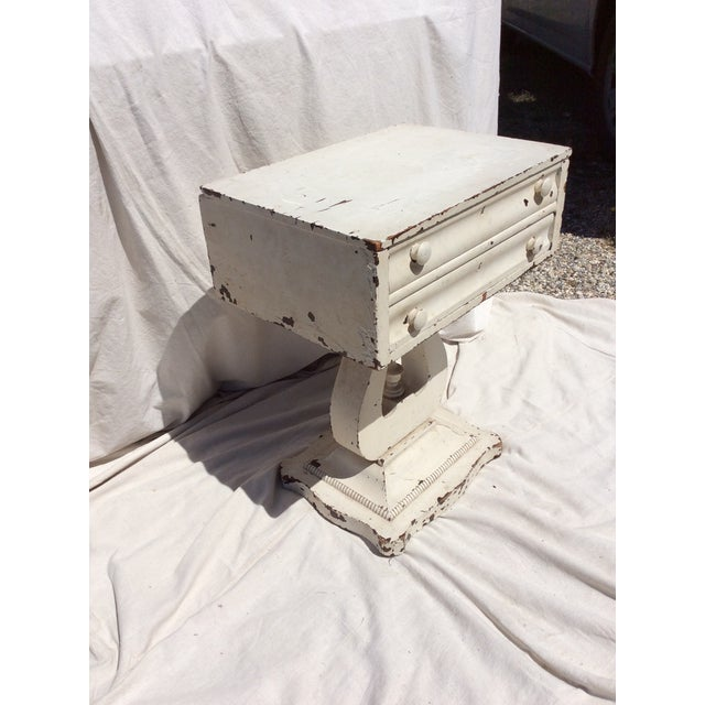 Distressed White Painted Side Table For Sale In San Antonio - Image 6 of 10