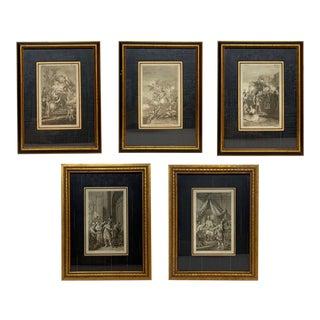 18th Century Georgian Framed Allegorical Engravings - Set of 5 For Sale