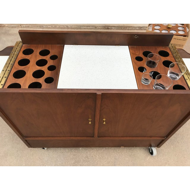 Mid-Century Modern Mid-Century Dry Bar With Fold Open Top + Glasses For Sale - Image 3 of 10
