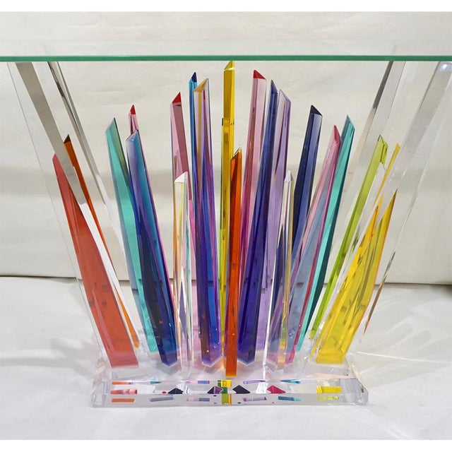 Abstract Design Rock Acrylic Multicolor Console With Clear Bevelled Glass Top For Sale In New York - Image 6 of 9