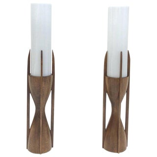 Pair of Walnut and Glass Table Lamps For Sale
