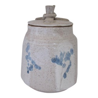 Hand-made Lidded Pottery Jar with Blue Flowers