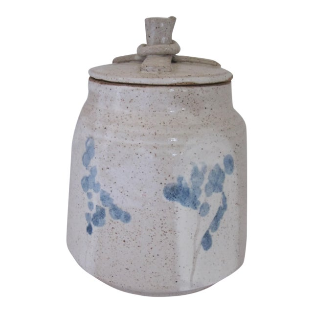 Hand-made Lidded Pottery Jar with Blue Flowers For Sale