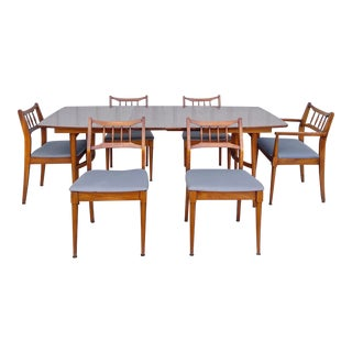 Mid-Century Dining Room Set W/ Six Chairs For Sale