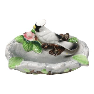 Vintage Hand-Painted White Cardinal Ashtray For Sale