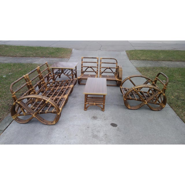 Vintage Mid Century Paul Frankl Style Pretzel Arm Rattan Bamboo Sofa - Set of 5 For Sale - Image 10 of 13