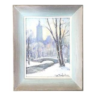 1960s Vintage Bella De Tirefort Central Park Oil Painting For Sale