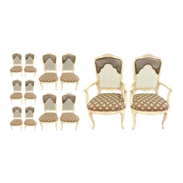 Set of 14 Louis XV Style Pickled Distress Dining Chairs For Sale