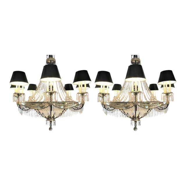 A Pair of Art Deco Palatial Eight Arm Ebony and Brass Chandeliers w Shades For Sale