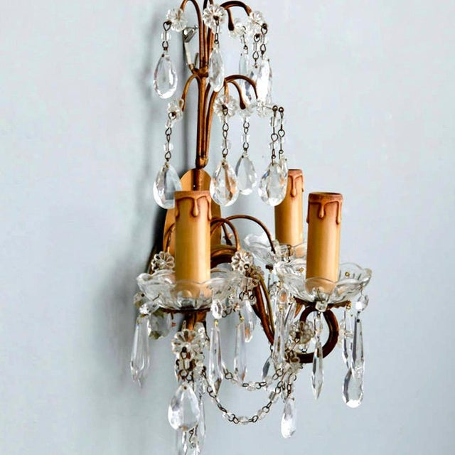 Pair of French Three-Arm Crystal and Brass Wall Sconces - Image 4 of 6
