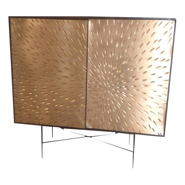 Contemporary Wooden Metal Living Room Cornell Chest Cabinet - Image 1 of 10