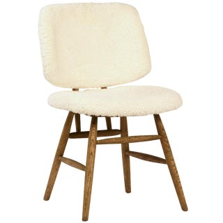 Faux Sherpa Dining Chair For Sale
