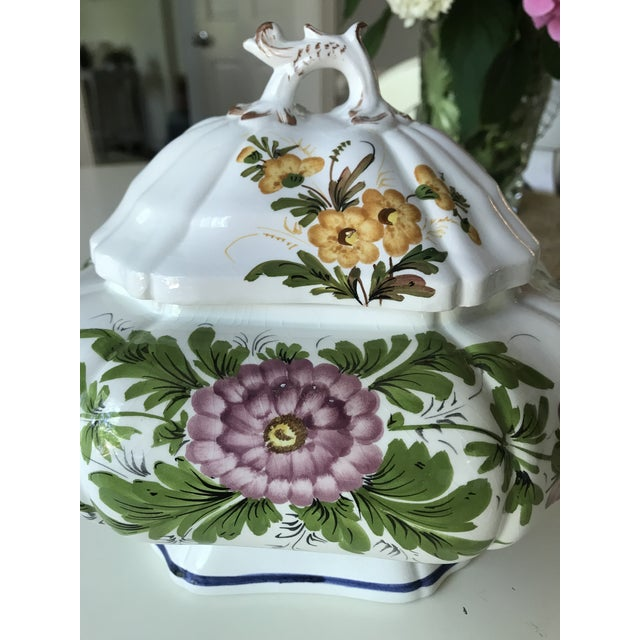 Petite Floral Porcelain Soup Tureen & Tray For Sale - Image 9 of 13
