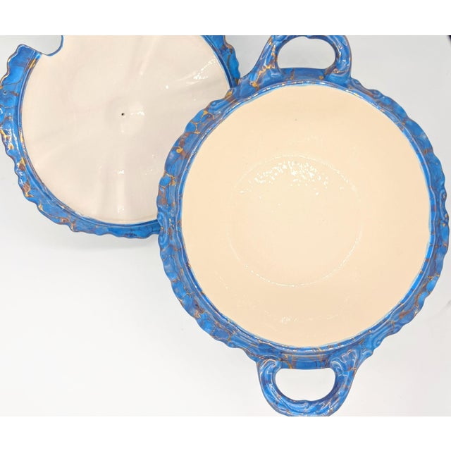 20th Century Contemprary Blue and Gold Ceramic Soup Tureen For Sale - Image 4 of 9