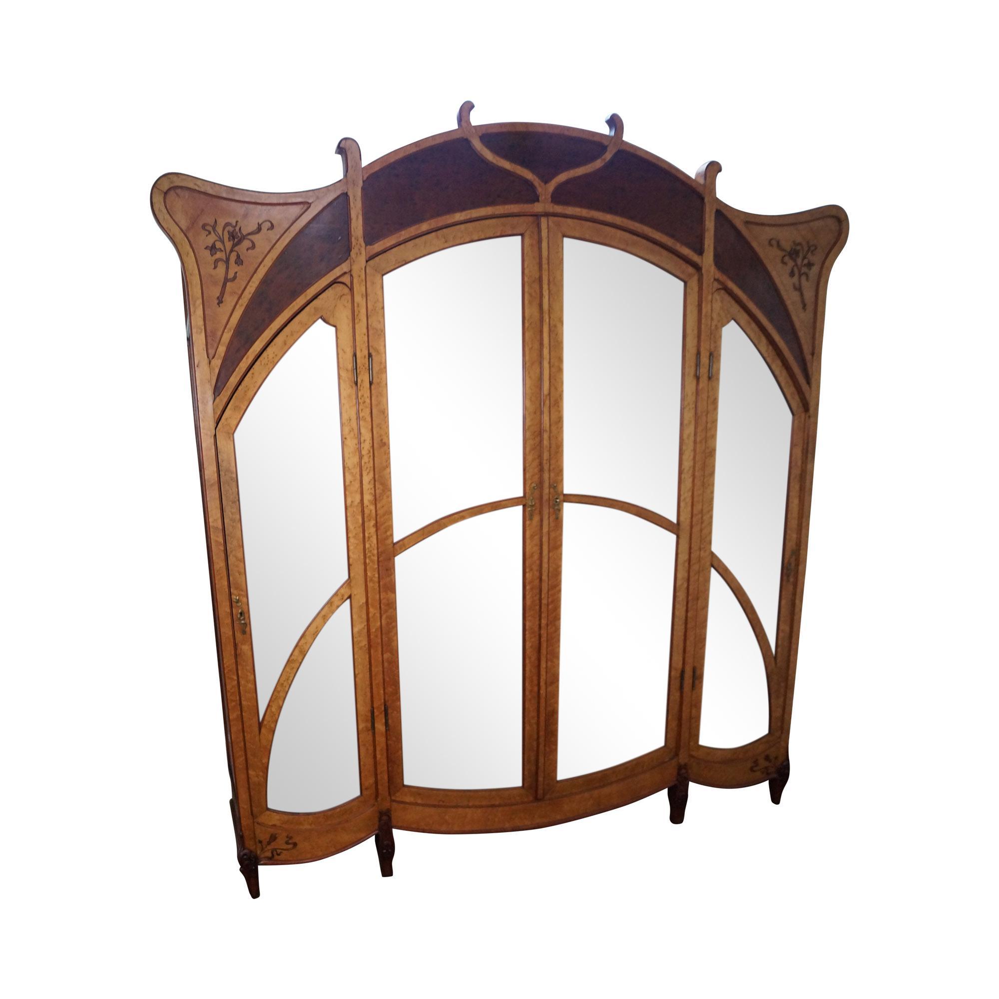 Antique French Art Nouveau Birdseye Maple U0026 Walnut Armoire