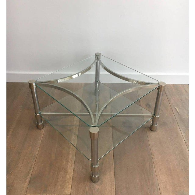 Chrome Pair of Double-tiered Chrome Side Tables For Sale - Image 7 of 11