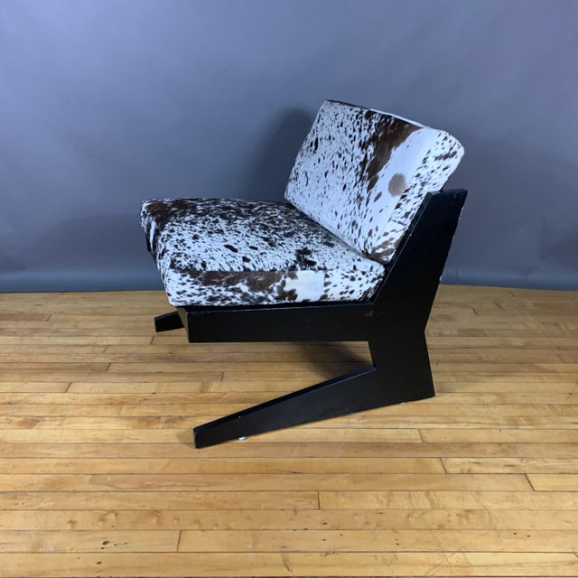 Black Pair Cowhide & Black Lacquered Lounge Chairs, Germany 1980 For Sale - Image 8 of 10