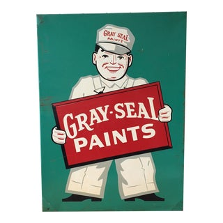 Vintage Original Gray-Seal Paints Sign, 1950s
