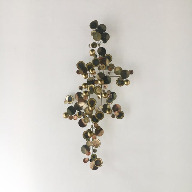 Brass A Brass Raindrops Metal Wall Sculpture by Curtis Jere For Sale - Image 7 of 7