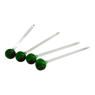 Martini Lucite Olive Swizzle Sticks - Set of 4 For Sale