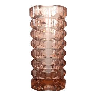 Cris D'Arques Faceted Pink Vase For Sale