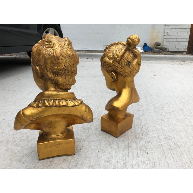 Mid 20th Century Boy & Girl Gold Gilt Busts - a Pair For Sale - Image 4 of 10