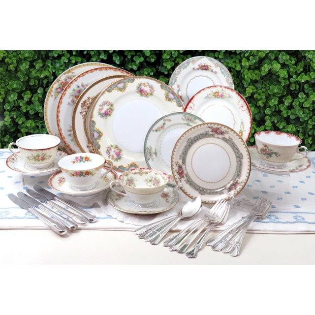 Vintage Mismatched Fine China & Silverware - Set of 32 - Image 2 of 11