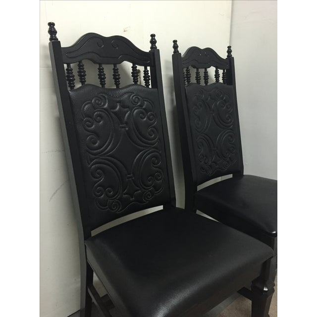 Black Mexican Leather Chairs - A Pair - Image 3 of 6