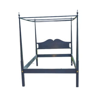 Normans Reproductions Hand Crafted Slate Blue Painted Queen Poster Canopy Bed