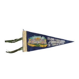 Vintage Benjamin Franklin Memorial and Institute Felt Flag Pennant For Sale