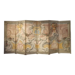 Spectacular Painted Six-Panel Armorial Baroque Screen From Italy, Circa 1700 For Sale