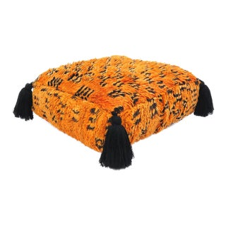 Vintage Orange & Black Moroccan Pouf
