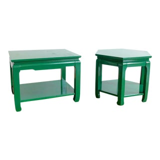 Pair Vintage Ming Style Kelly Green Chinoiserie Side Tables