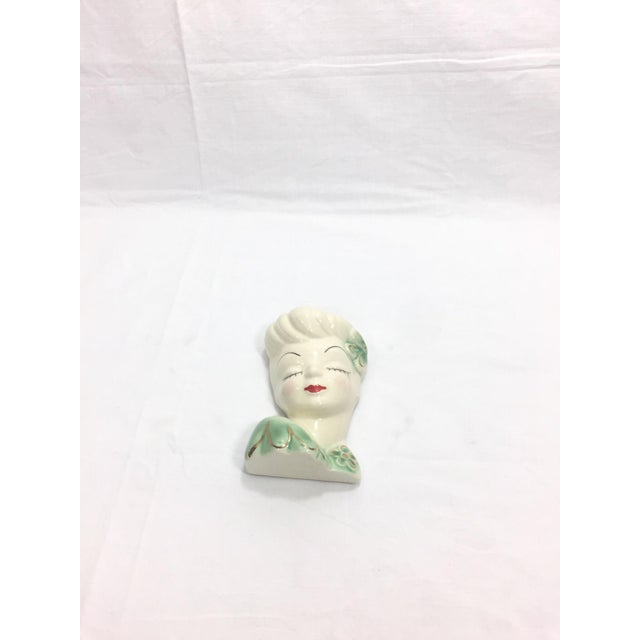 Figurative 1950's Vintage Mid Century Girl Head Vase or Wall Pocket For Sale - Image 3 of 10
