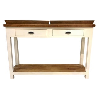 Modern Rustic White Two Draw Console Table With Two Removable Trays For Sale