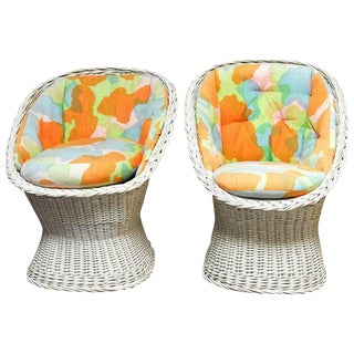 Mid-Century French Wicker Egg Cup Chairs - A Pair