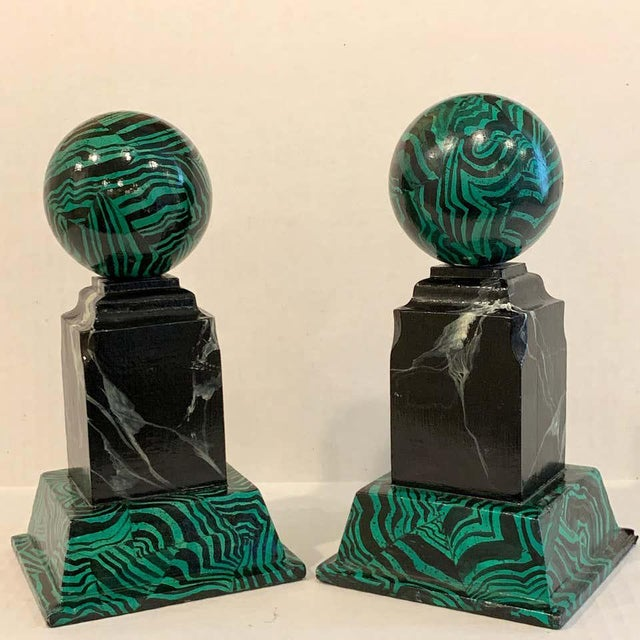 Bob Christian 1987 Faux Malcihite Orbs - a Pair For Sale - Image 9 of 13