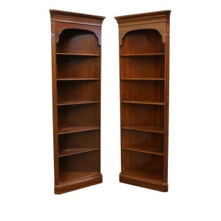 Ethan Allen Georgian Court Collection Left and Right Corner Bookcases Vintage Finish - a Pair