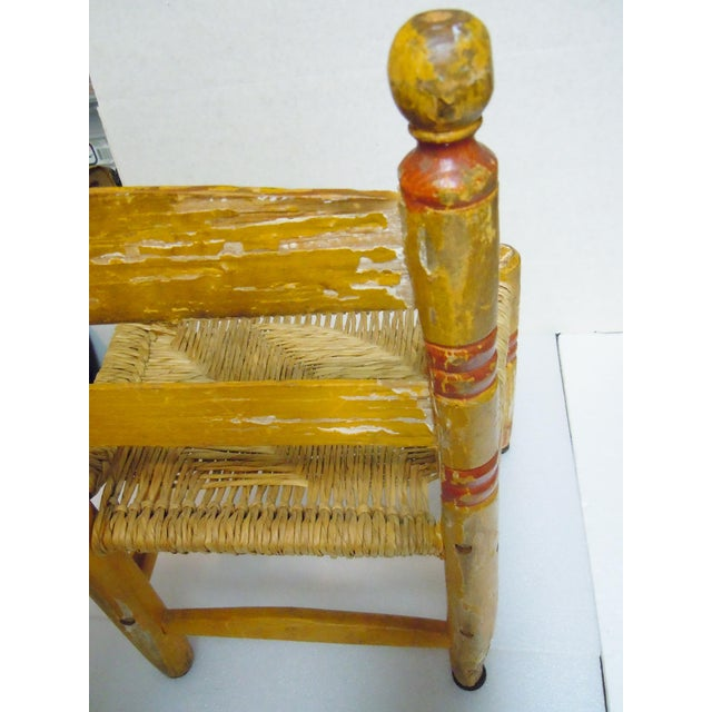 Green 1900's Rustic Childs Chair With Rush Seat For Sale - Image 8 of 12