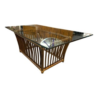 1960s Rectangular Rattan Coffee Table With Glass Top For Sale