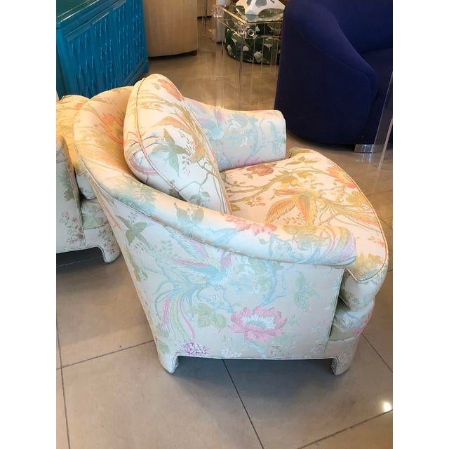 Hollywood Regency Vintage Pastel Tropical Birds Club Lounge Chairs - a Pair For Sale - Image 3 of 11